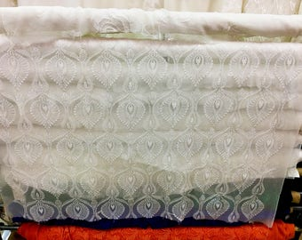 Peakcow Embroidery silk fabric,crinkle silk chiffon lace fabric in off white,wedding dress fabric-ZSME0023