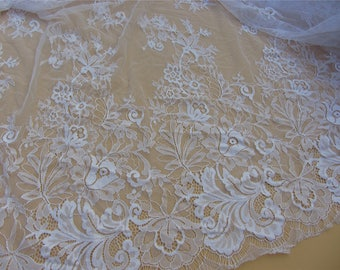 white Chantilly Lace Fabric sell by yard in pure white for Bridal Gowns, Mantilla  Veils,snow white eyelash lace