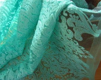embroidery  lace fabric ,Tiffany Blue embroidery Flower lace for DIY wedding ,pary dress,Tiffany Blue lace