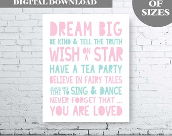 Dream Big Quote Printable Art. Whimsical wall art, Inspirational Poster, Nursery Quote Print, Pink Aqua Nursery Quote Art. Girls Quote Art.