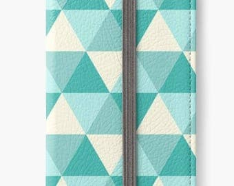 Folio Wallet Case for iPhone 8 Plus, iPhone 8, iPhone 7, iPhone 6 Plus, iPhone SE, iPhone 6, iPhone 5s -  Blue & white triangle pattern