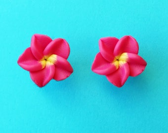 "Fun in the Sun Collection - ""Pretty Plumeria"" Earrings Tiki Hawaiian Themed - Red and Yellow"