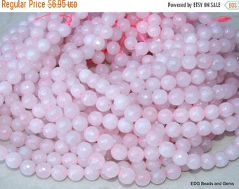 Pink Jade - Light Pink Faceted Jade Beads.  10mm Faceted Bead - 15 inch Strand