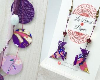 """Idée cadeau original, Boucles d'oreilles origami cocotte violet """"ultraviolet"""", papier japonais, japanese paper, origami earrings, kawai"""