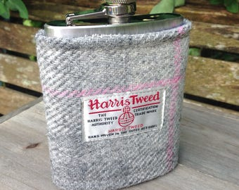 Harris tweed 8oz hip flask in grey, pink and blue tweed birthday wedding gift