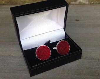 Tweed cufflinks in red tweed wedding gift groomsmen best man birthday Father's Day gift