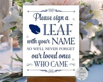 Sign a Leaf Printable Wedding Sign, Navy Blue Lettering, Guest Book Alternative (#LF12N)