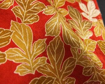 "13.4""w. x 14.2""l. vintage silk, Japanese, quilting, silk fabric, leaves, red, gold, silk scraps, crafts, asian silk, kimono fabric, 2689xC"