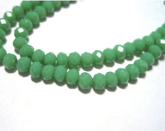 "50% OFF Clearance Sale-- 1 Strand 15"" Green Faceted Rondelle Glass Crystal Beads 3x2mm( No. R135)"
