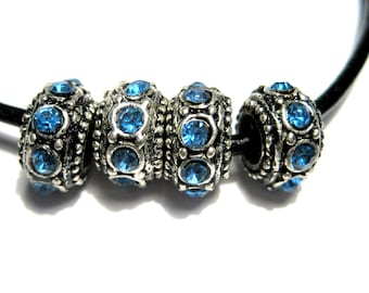 4pcs Antique Silver Large Hole European Rondelle Spacer Beads With Blue Rhinestones