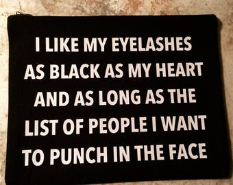 I like my lashes as black as my heart over-sized make up case
