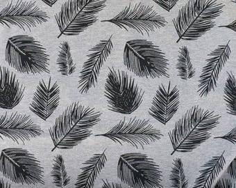Fabric - Cotton sweatshirt jersey fabric - grey marl feather print