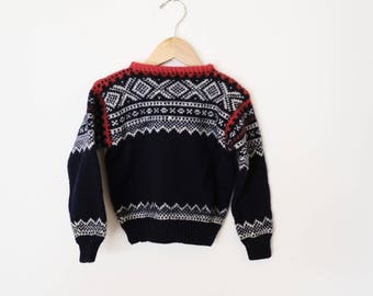 Hand Knit Navy Blue and Red Scandinavian Kids Sweater Nordic Fair Isle size 3 or 4