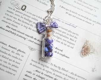 Necklace vial drink me purple macarons