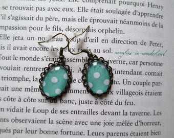 Green turquoise earrings polka