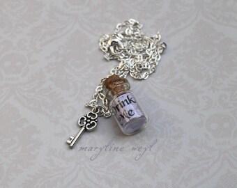"vial necklace ""Drink Me"" alice in Wonderland silver gray"
