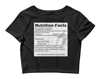 pastel goth shirt, nu goth shirt, gothic shirt, crop top, womens tshirts, womens tops, evil, dark humor, nutrition facts, parody, satan