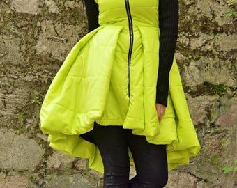 SALE 50% OFF Yellow Padded Jacket with Acrylic Sleeves / Yellow Padded Jacket Dress / Extravagant Yellow Jacket / Padded Winter Jacket TC80