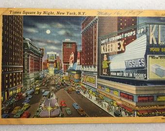 Vintage Postcard New York City Times Square by Night New York NY 1957 Kleenex Ad Postcard