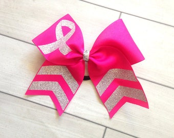 Breast Cancer Awareness Cheer Bows -  Silver Glitter and Dark Pink Cheer Bows - Awareness Cheer Bows V1