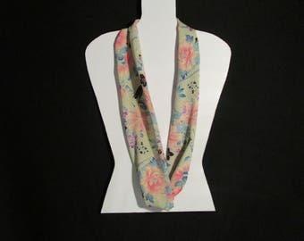 Antique Silk Kimono Infinity Scarf - made with antique silk Japanese kimono fabric