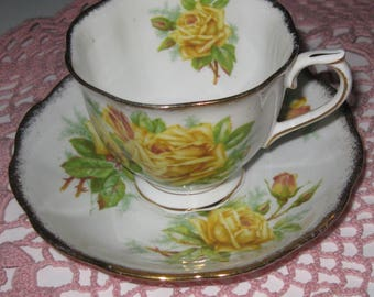 ROYAL ALBERT TEA Rose Bone China Cup and Saucer, Made in England. Ca. 1940