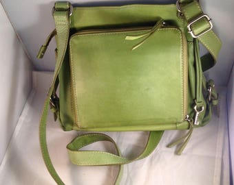 Fossil pea green leather messenger/cross body/shoulder handbag