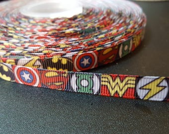 Superhero logos printed 3/8 inch grosgrain ribbon for hair bows, scrapbooking, other crafts - sold in lengths of 1, 3, or 5 yards - M2425