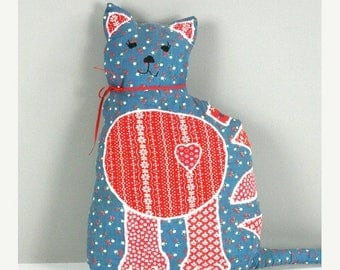 SUMMER SALE Stuffed Cat Calico Shabby Chic Quilted Handmade