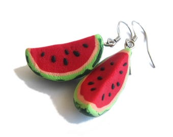 Watermelon Earrings, Watermelon Jewelry, Red Earrings, Fruit Earrings, Food Earrings, Fruit Jewelry, BFF Gifts Ideas, Friendship Jewelry