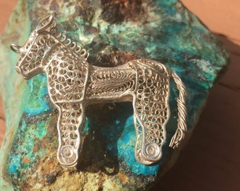 Early 1900's Antique Filigree Silver Horse from Orissa, India - approx 39mm x 34mm