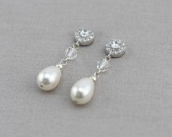 Bridal Earrings, Wedding Earrings, Rhinestone Earrings - Lauren