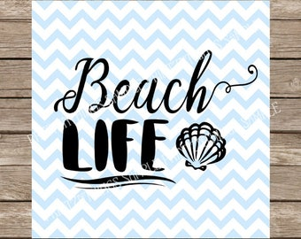 Beach Life SVG Scrapbook Wording Cut Out PNG Summer Download Silhouette Sea Shell Crafting DFX