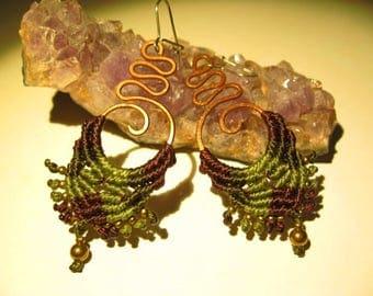 Boho macramé earrings in copper gypsie earrings ethnique earrings micromacramé tissued earrings woman