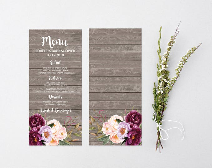Burgundy Floral Menu // Wedding Menu //Bridal Menu //Wood // Baby Shower Menu // Gold // Rustic // Printed or Digital // FLORENCE COLLECTION