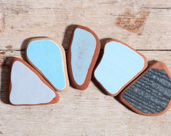 Blue Sea Pottery / 5 pieces / Italian Genuine Sea Tiles for Collection, Jewelry and Mosaic  (sp-0005-4)