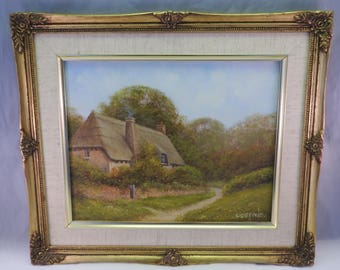 oil painting on board of  Staffordshire cottage, signed P.Duffield, gilt framed