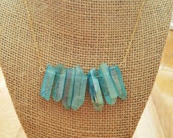 15% OFF SALE Raw Blue Aura Quartz Crystal Point Stone Bib Necklace On A 14K Gold Filled Chain / Crystal Quartz Necklace / Boho Necklace / Na