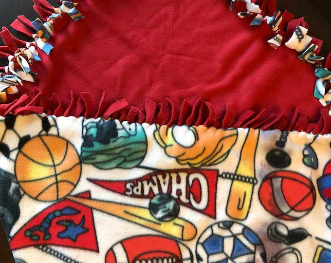 "Featured listing image: Sports themed Fleece blanket 50"" x 64""  for you washable and reversible"