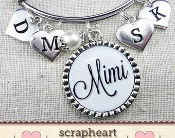 Mimi Gift, Personalized Gifts for Mimi, Initial Bracelet for Mom or Grandma, MIMI Jewelry, Grandchildren Initials, Custom Mimi Charm Bangle
