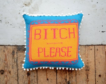 PDF Download - Bright Rude Profanity Knitted Scatter Cushion Cover Pattern - BITCH PLEASE. Bright Pillow/Cushion/Interior Accessory/