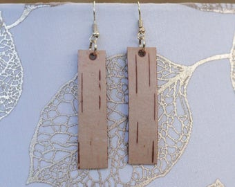 Long Earrings|Birch Bark|Natural Materials|Gift for Her|Bridal|Woodsy|Elegant|Handmade|Sustainably Harvested