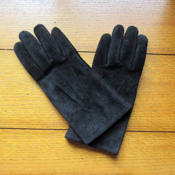 Women's Black Leather Suede Winter Gloves