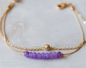 Handmade petite style 14K Gold plated natural stone amethyst purple February birthstone bracelet birthday gift beaded chain bracelet
