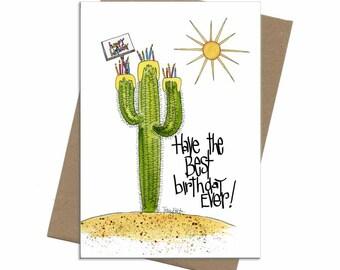 Southwest Saguaro Cactus Cake | Birthday Card | SKU C0007