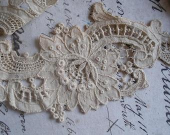 """86"""" Antique guipure lace trim, Victorian Edwardian"""