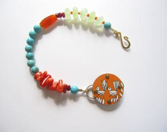 Colorful Bracelet, Summer Colors, Bright Gemstone Bracelet, Turquoise and Coral, Tin Snippet, Boho Chic, Summer Bracelet