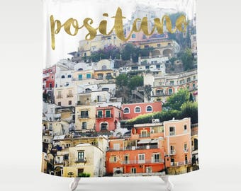 Italy Shower Curtain, Positano, Italy Photography, Gold Shower Curtain, Italy Decor, Fabric Bathroom Curtain, Standard or Extra Long