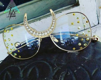 Glasses Luna Golden Summer Glasses eyewear sunnies sure glasses festival moon Swarovski Crystal Gold
