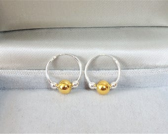 15mm Sterling Silver Sleeper Hoop Earrings with Gold & Silver Beads.